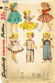 1950s Vintage Simplicity Sewing Pattern 4509 Bonny Braids 14 In Doll Clothes