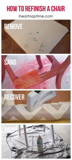 Just bought a table and chairs that need to be redone - Ever wondered how to refinish a chair? It's easier than you thought! Furniture Fix, Furniture Projects, Furniture Makeover, Painted Furniture, Homemade Furniture, Diy Projects To Try, Home Projects, Craft Tutorials, Making Ideas