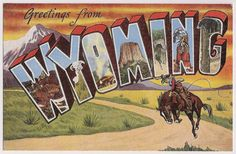 Vintage Wyoming Large Letter Style Greetings old postcard