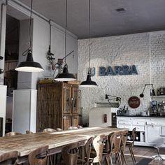 u barba, milan Restaurant Lighting, Restaurant Concept, Cafe Restaurant, Restaurant Design, Restaurant Interiors, Milanesa, Interior Exterior, Interior Design, Cafe Style