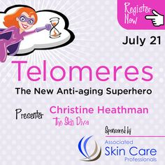 Telomeres are natural structures within the chromosomes that carry our DNA. They play many roles, but their potential use in anti-aging skin care is very new and exciting.  Title: Telomeres: The New Anti-Aging Superhero Date: Monday, July 21, 2014 Time: 12:00 PM - 1:00 PM MDT  Reserve your Webinar seat now at: https://www2.gotomeeting.com/register/592341546