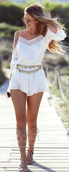#SpringBreak #Outfits / White Lace Romper - Gladiator Sandals