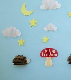 Hedgehogs and Mushroom 3D Wall Decals Woodland by goshandgolly