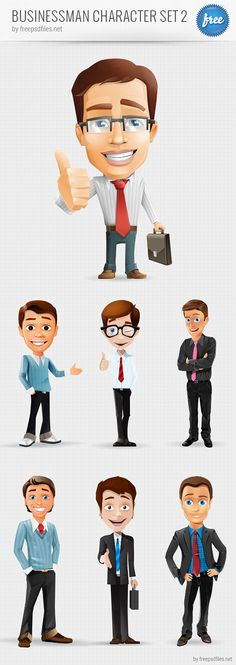 Businessman vector character set containing 7 cheerful characters. Our free vector characters could really help with your designs and projects. Get the whole set now completely for free! Continue reading →