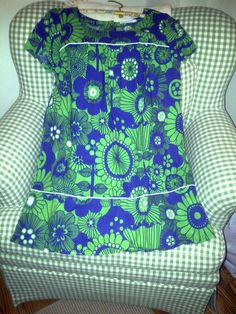 marimekko 100% cotton blue and green floral print dress sz 42/12 | eBay