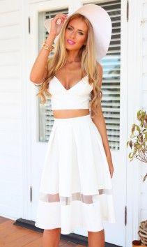 Cooper Skirt White midi skirt mesh panel outfit