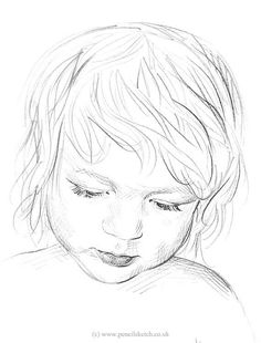 Sketch Face Boy Drawing - Sketch Of A Child by Anna Shipstone - Human Face Drawing, Face Line Drawing, Little Boy Drawing, Drawing For Kids, Drawing Ideas, Boy Sketch, Face Sketch, Portrait Sketches, Art Drawings Sketches