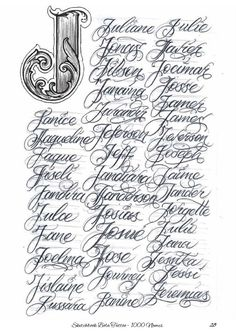 Calligraphy Tattoo Fonts, Tattoo Lettering Design, Chicano Lettering, Graffiti Lettering, Hand Lettering Alphabet, Alphabet Art, Letter J Tattoo, Gothic Writing, Traditional Panther Tattoo