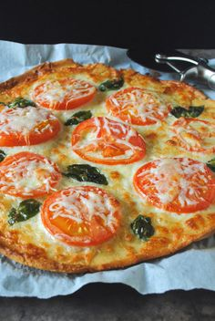 Gluten Free Pizza with Tomatoes and Basil - yummy, yummy gluten free!