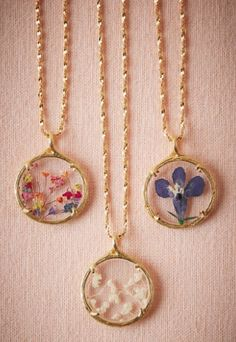 sweet pressed flower necklaces
