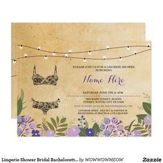 Lingerie Shower Bridal Bachelorette Party Invite