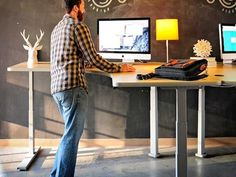 STANDING DESKS - Los Angeles I love the idea of chalkboard paint in an office! Office Furniture - Crest Office Furniture