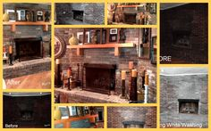 White Washed Brick before and after shots. One fireplace down, one to go!