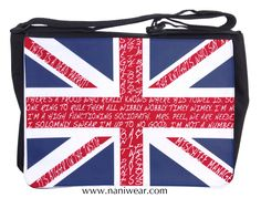"British Fandom Messenger/Laptop Bag: 50 Years of British Fandom Union Jack.  Fits a 15"" laptop, with plenty of pockets for cords and peripherals."