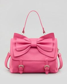 Buckled Bow-Front Satchel Bag, Pink -...