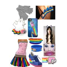 NYAN cat costume for party by mjismysexygangster on Polyvore featuring Jeffrey Campbell, ELSE and Johnstons