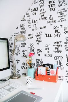 Surround your desk with positive thoughts to keep you inspired.