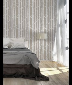 Schablonen - Birkenwald, skandinavische Wandschablone - ein Designerstück von StenCilit bei DaWanda