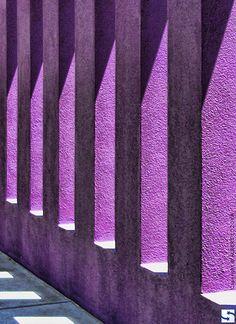 Albuquerque, New Mexico - Purple colored columns at The Hispanic Cultural Center.