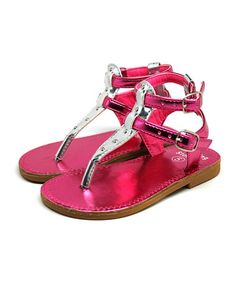 Loving this Pink Metallic T-Strap Gladiator Sandal on #zulily! #zulilyfinds