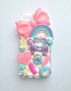 Kawaii Pastel Rainbow Decoden Moon FairyKei Bow Doughnut Handmade Clay Heart Whipped Cream iPhone 5 Cell Phone Case