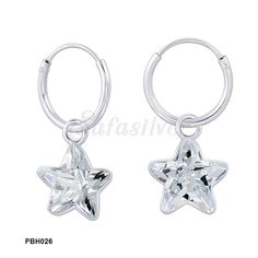 A Pair of 1.2 mm Thickness light weight plain silver hoops of diameter 12 mm with clear star cubic zirconia Charms.