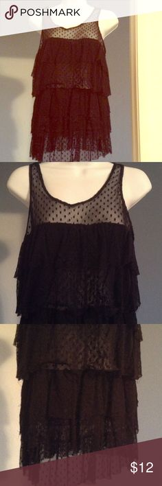 🍥CUTE SHEER TOP🍥 🍿Adorable top. Layered ruffle look with black polka dot accent. Wear with jeans or maxi skirt. Sheer. Size L🍿 Tops Tank Tops