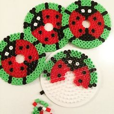 Ladybug glass cover set hama beads by charlottevindpless Easy Perler Bead Patterns, Melty Bead Patterns, Diy Perler Beads, Perler Bead Art, Beading Patterns, Perler Coasters, Pearl Beads Pattern, Hama Beads Design, Iron Beads