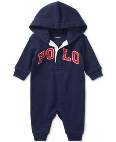Ralph Lauren French Terry Hooded Coverall, Baby Boys (0-24 months) - French Navy 12 months