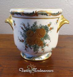 Limoges France Hand Painted Porcelain Cachepot  Vase #Limoges