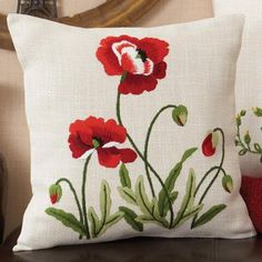 Nob Hill™ Wild Poppy Pillow Cover Stamped Embroidery Kit