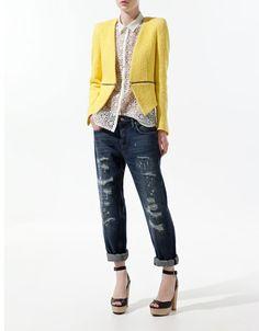 yellow zip detail blazer