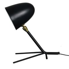 An elegant triangular base supporting a slender, straight arm and cylindrical shade allows this deceivingly simple lamp to adapt well in any setting. Desk Lamp, Table Lamps, Lighting Online, Lighting Design, Home Decor, Light Design, Lamp Table, Decoration Home, Office Lamp