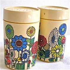 Flower Power, Vintage, Salt and Pepper, Shakers, Colorful, 1970s, Seventies, Plastic, Flowers, Treasured