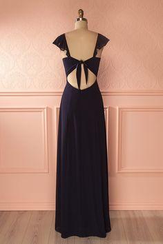 Eden Dark - Navy blue frilled neckline gown