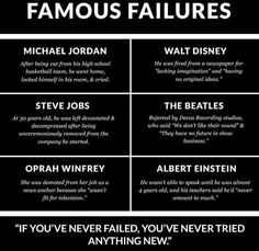 Anytime we feel as if we can not succeed, we should all remind ourselves of this. Many many amazing people and amazing feats have became what they are because of nothing more than failures.