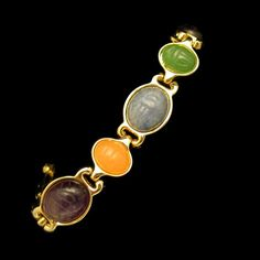 #Egyptian Carved Glass #Scarabs #Bracelet Striking Vintage Jewelry