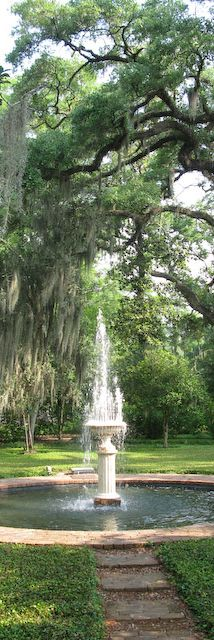 Lovely Fountain at Rosedown Plantation in St. Francisville, Louisiana!... Love the moss hanging from the tree