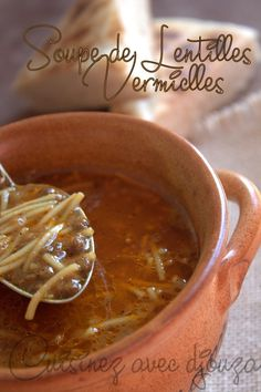 Lentil and vermicelli soup (without meat) - ramadan - Vegetarian Recipes High Protein Vegetarian Recipes, Vegetarian Recipes Dinner, Veggie Recipes, Appetizer Recipes, Soup Recipes, Dinner Recipes, Cooking Recipes, Dinner Healthy, Carne