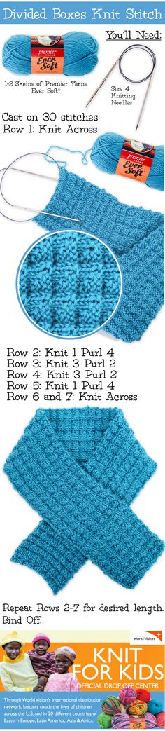 Divided Boxes Knit Stitch Scarf - Free Knitted Pattern