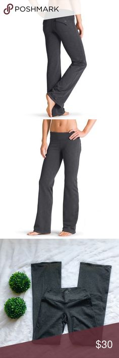 """Athleta Gray Fusion Yoga Pants Athleta gray fusion yoga pants in excellent preloved condition. Slight discoloration on the back of the ankles from hitting the ground (pictured above) but not bad in my opinion. No other flaws. I also have these available in black in my closet as well. Size extra small tall, 43"""" long, 34"""" inseam, 9.5"""" across ankles, and a 26"""" waist (laid flat not considering stretch). No trades. My listing price is firm. Athleta Pants"""