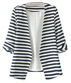 Sheinside® Women's Navy White Striped Long Sleeve Fitted Blazer (M, White)
