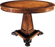 The Regency centre table, a rare piece, was designed in circular burr ash by George Bullock. Adorning the inlaid top is a broad border of ebonized floral vines within ebonized bands. Baker Furniture, Large Furniture, Antique Furniture, Library Table, Center Table, Home Collections, Architecture, Regency, Luxury Homes