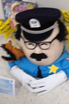 Officer Buckle painted beige and then a lot of foundation. A clown wig cut for semi bald and Halloween costume for uniform. Book Characters, Cartoon Characters, Book Character Pumpkins, Clown Wig, Pumpkin Decorating Contest, Captain Hat, Halloween Costumes, Foundation, Beige