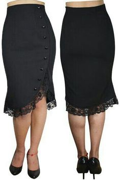 Black Pencil Skirt w/Lace Detail