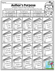 Author's Purpose- Decide what the author's purpose for writing is. TONS of printable worksheets to teach literacy!