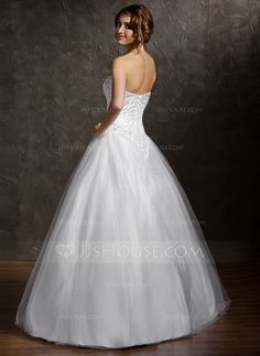 Ball-Gown Sweetheart Floor-Length Tulle Quinceanera Dress With Beading (021004578) - JJsHouse
