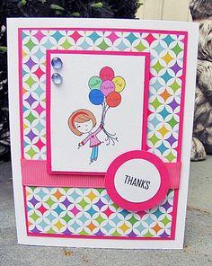 Thank you Greeting Card  Handmade  Little Girl  Thanks by riaann, $4.00