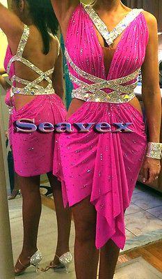 Women Ballroom Rhythm Salsa Rumba Latin Dance Dress US 6 UK 8 Bright Pink Sliver