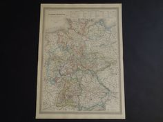 GERMANY old map LARGE 1867 beautiful antique by DecorativePrints